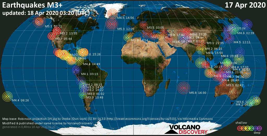 World map showing earthquakes above magnitude 3 during the past 24 hours on 18 Apr 2020