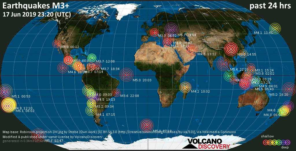 World map showing earthquakes above magnitude 3 during the past 24 hours on 17 Jun 2019