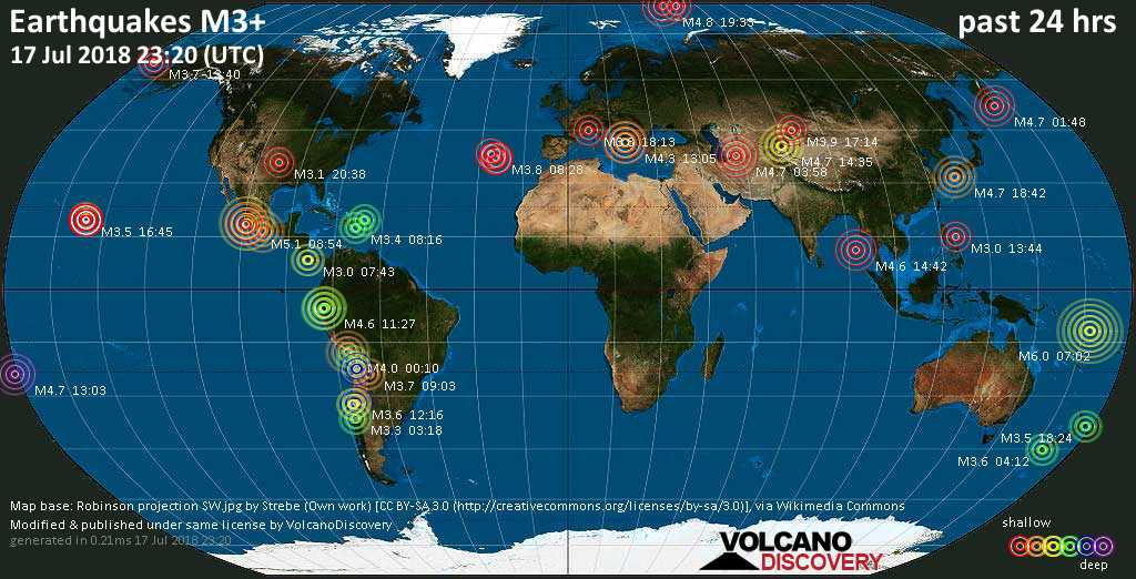 World map showing earthquakes above magnitude 3 during the past 24 hours on 17 Jul 2018
