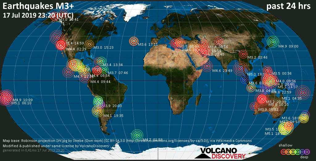 World map showing earthquakes above magnitude 3 during the past 24 hours on 17 Jul 2019