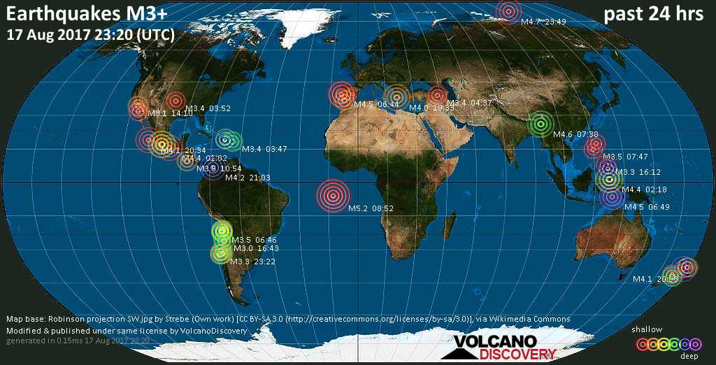 World map showing earthquakes above magnitude 3 during the past 24 hours on 17 Aug 2017