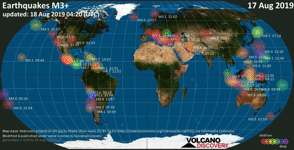 World map showing earthquakes above magnitude 3 during the last 24 hours on August 18, 2019