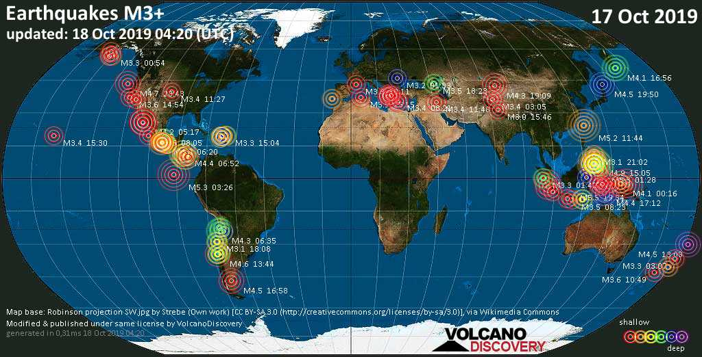 World map showing earthquakes above magnitude 3 during the past 24 hours on 18 Oct 2019