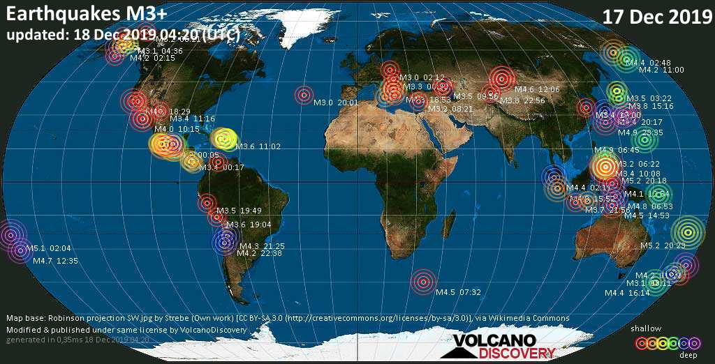 World map showing earthquakes above magnitude 3 during the past 24 hours on 18 Dec 2019