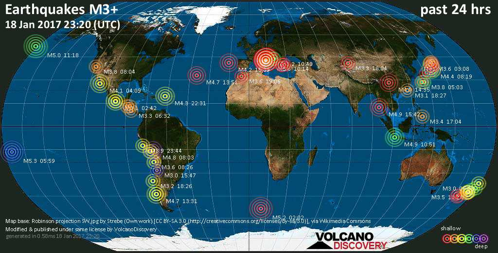 World map showing earthquakes above magnitude 3 during the past 24 hours on 18 Jan 2017