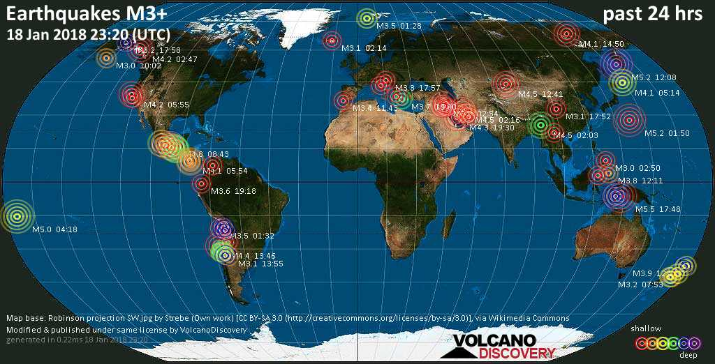 World map showing earthquakes above magnitude 3 during the past 24 hours on 18 Jan 2018