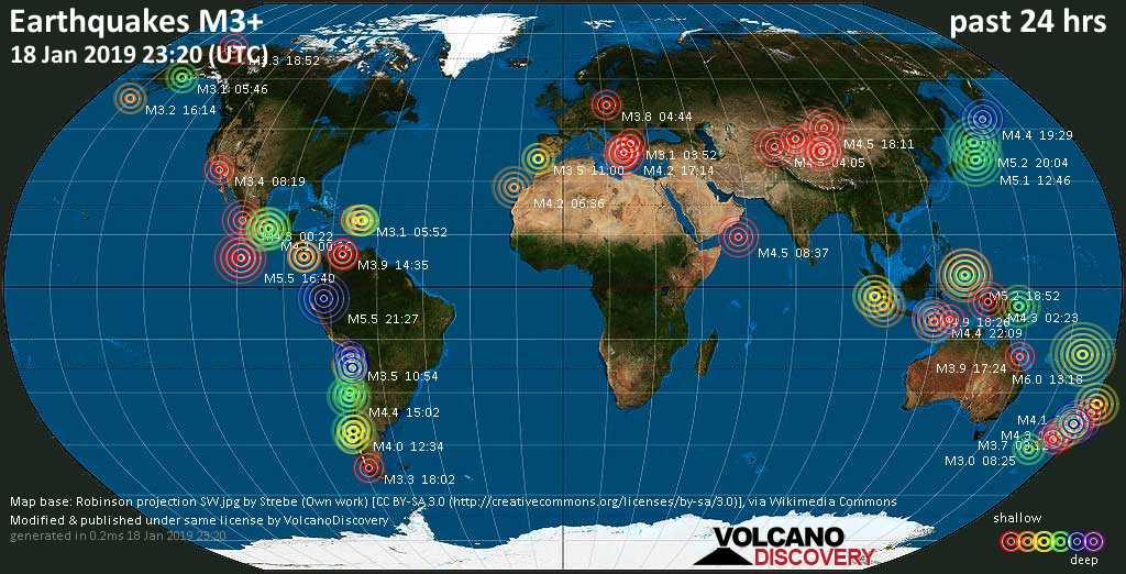 World map showing earthquakes above magnitude 3 during the past 24 hours on 18 Jan 2019