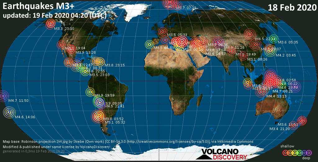 World map showing earthquakes above magnitude 3 during the past 24 hours on 19 Feb 2020