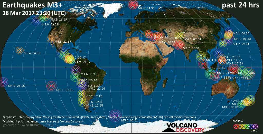 World map showing earthquakes above magnitude 3 during the past 24 hours on 18 Mar 2017