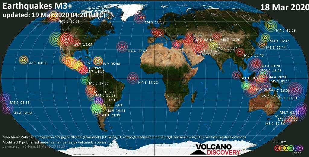 World map showing earthquakes above magnitude 3 during the past 24 hours on 19 Mar 2020