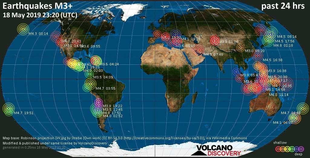 World map showing earthquakes above magnitude 3 during the past 24 hours on 18 May 2019