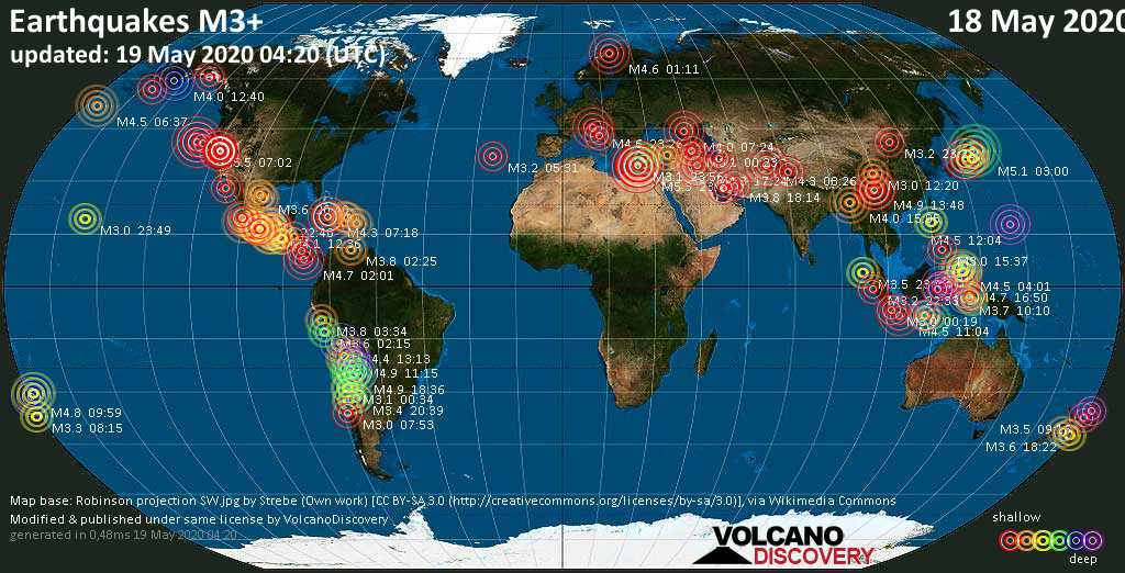 World map showing earthquakes above magnitude 3 during the past 24 hours on 19 May 2020