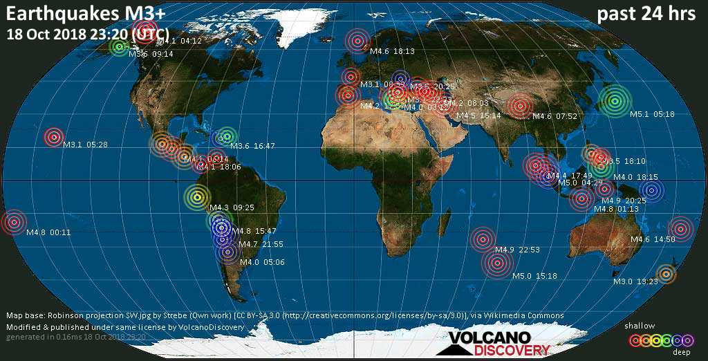 World map showing earthquakes above magnitude 3 during the past 24 hours on 18 Oct 2018