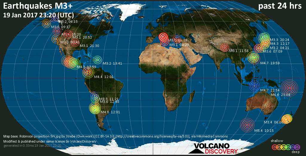 World map showing earthquakes above magnitude 3 during the past 24 hours on 19 Jan 2017