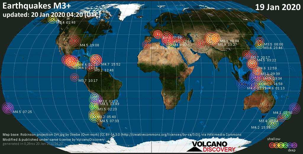 World map showing earthquakes above magnitude 3 during the past 24 hours on 20 Jan 2020