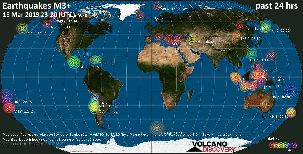 World map showing earthquakes above magnitude 3 during the past 24 hours on 19 Mar 2019