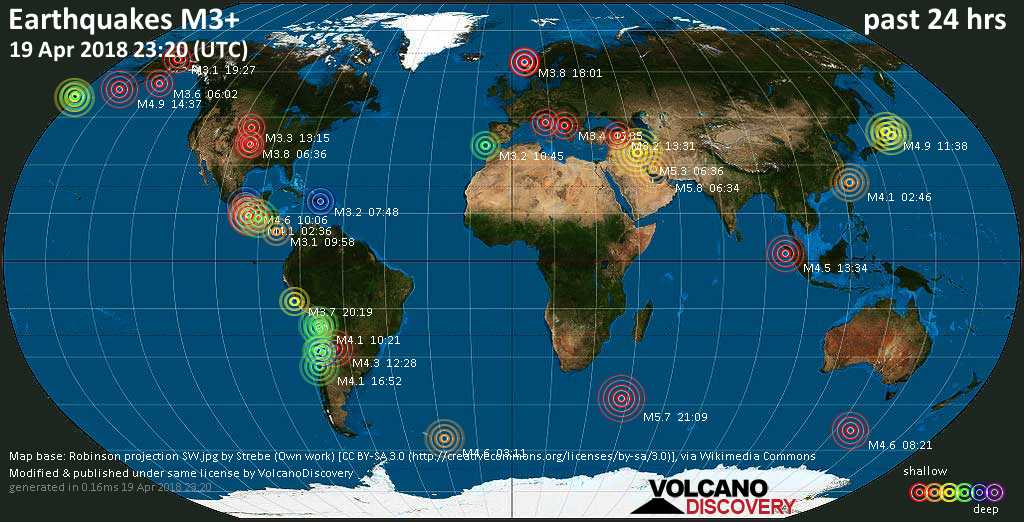 World map showing earthquakes above magnitude 3 during the past 24 hours on 19 Apr 2018