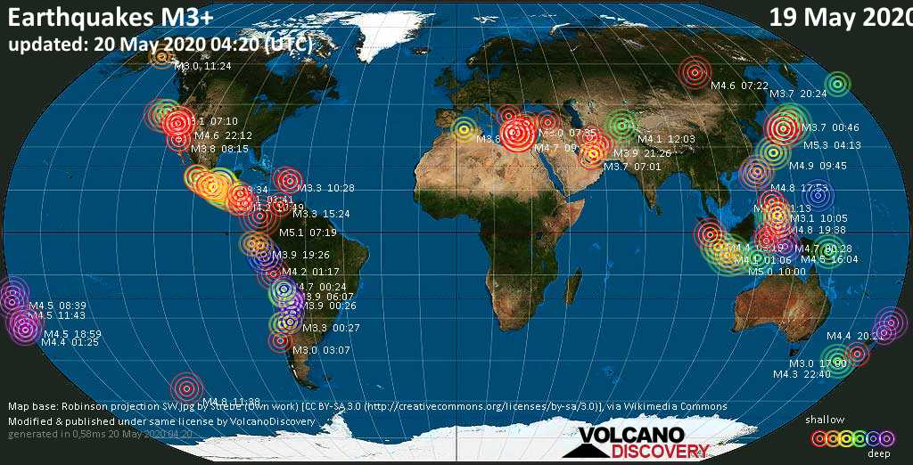 World map showing earthquakes above magnitude 3 during the past 24 hours on 20 May 2020