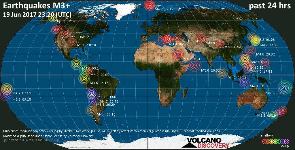 World map showing earthquakes above magnitude 3 during the past 24 hours on 19 Jun 2017