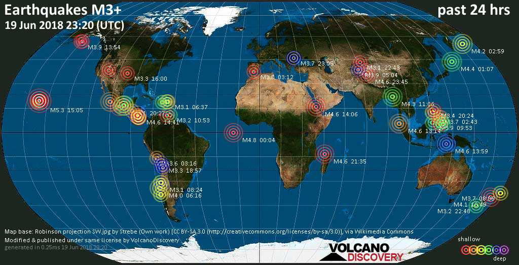 World map showing earthquakes above magnitude 3 during the past 24 hours on 19 Jun 2018