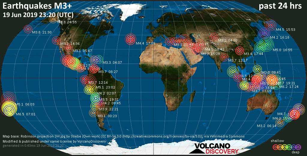 World map showing earthquakes above magnitude 3 during the past 24 hours on 19 Jun 2019