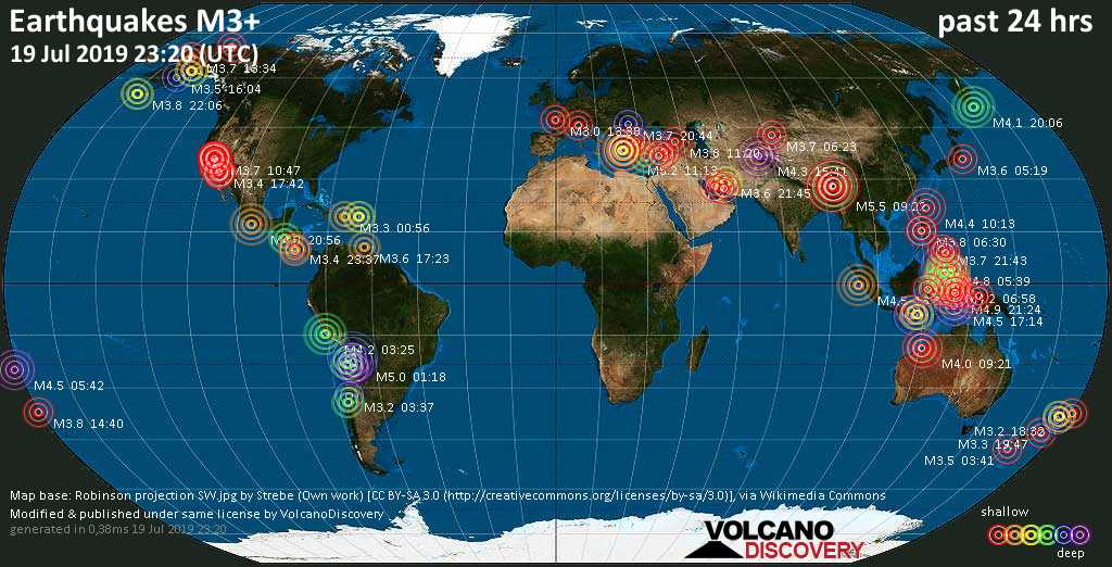 World map showing earthquakes above magnitude 3 during the past 24 hours on 19 Jul 2019