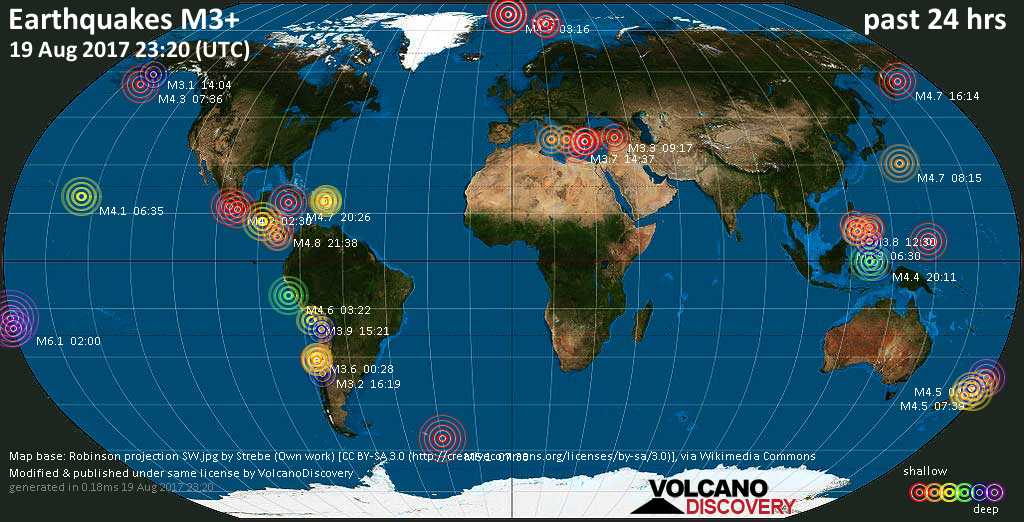 World map showing earthquakes above magnitude 3 during the past 24 hours on 19 Aug 2017