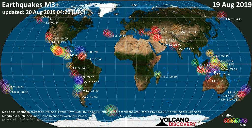 World map showing earthquakes above magnitude 3 during the last 24 hours on August 20, 2019