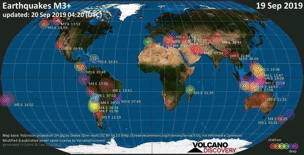 Mapa mundial que muestra terremotos de magnitud 3 en las últimas 24 horas 20 septiembre 2019