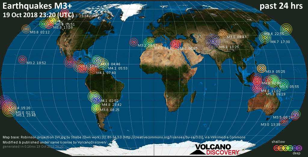 World map showing earthquakes above magnitude 3 during the past 24 hours on 19 Oct 2018