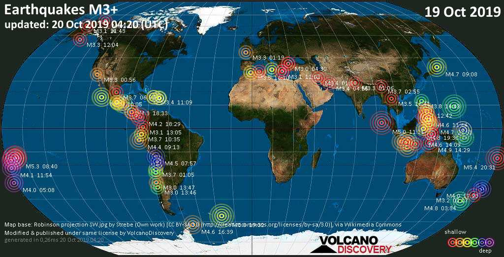 World map showing earthquakes above magnitude 3 during the past 24 hours on 20 Oct 2019