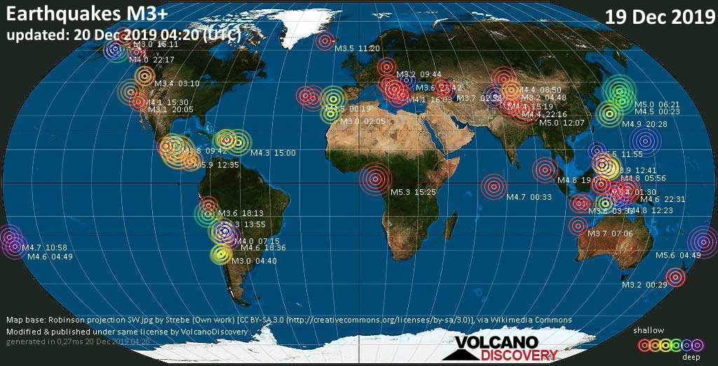 World map showing earthquakes above magnitude 3 during the past 24 hours on 20 Dec 2019