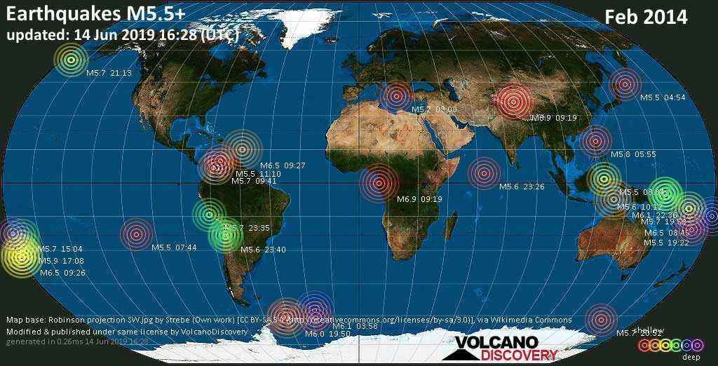 World map showing earthquakes above magnitude 5.5 during February 2014