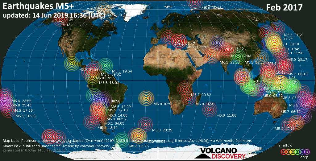 World map showing earthquakes above magnitude 5 during February 2017