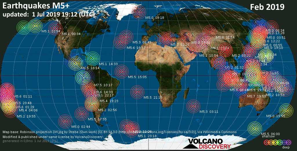 Mapa mundial que muestra terremotos de magnitud 3 en febrero 2019