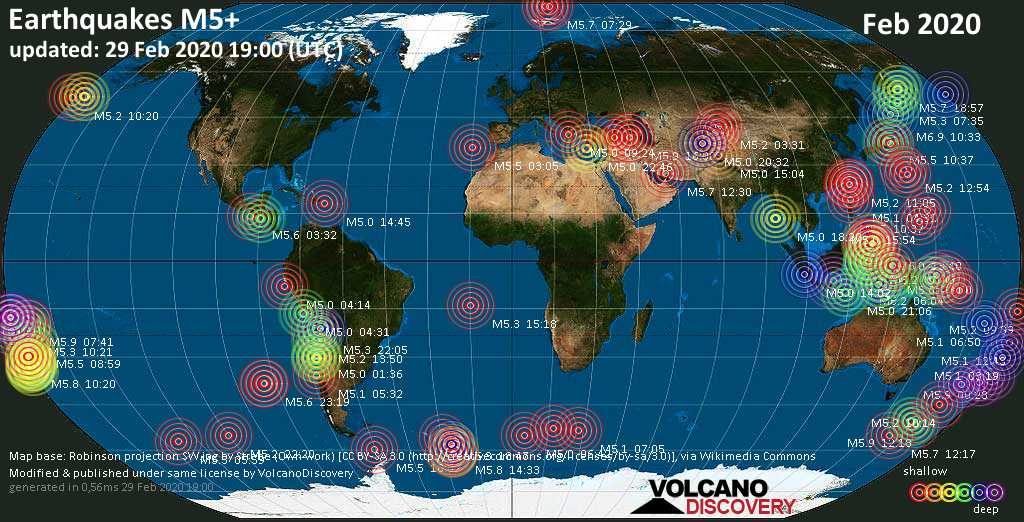 World map showing earthquakes above magnitude 5 during February 2020