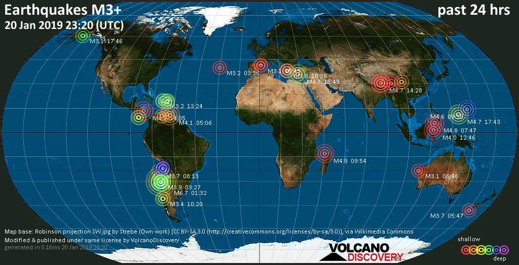 Earthquake report world-wide for Sunday, 20 Jan 2019 / VolcanoDiscovery