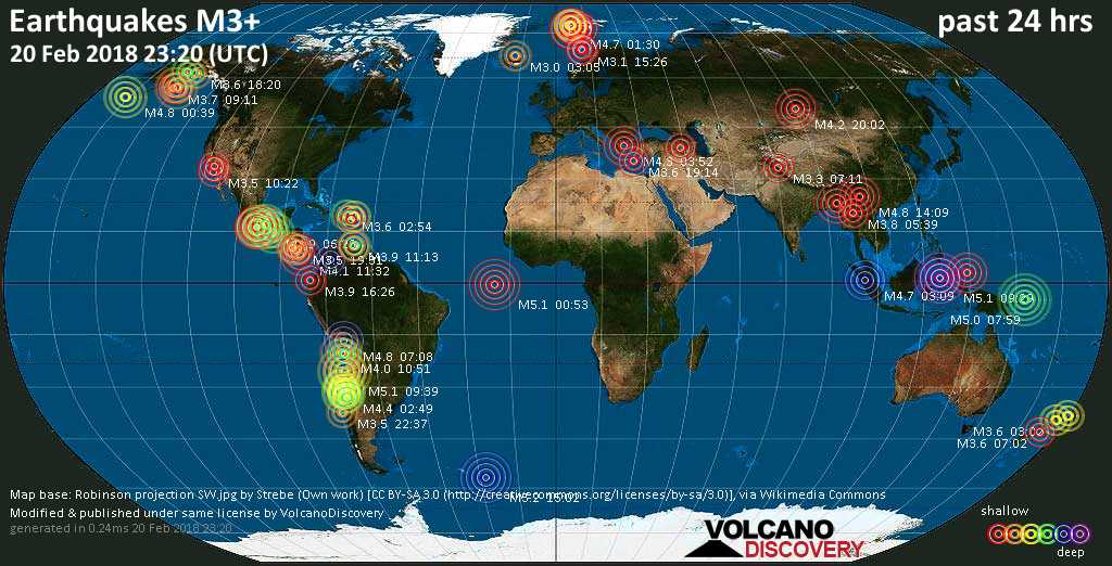 World map showing earthquakes above magnitude 3 during the past 24 hours on 20 Feb 2018