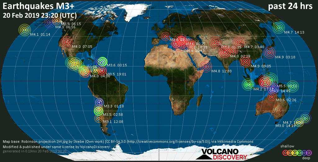 World map showing earthquakes above magnitude 3 during the past 24 hours on 20 Feb 2019