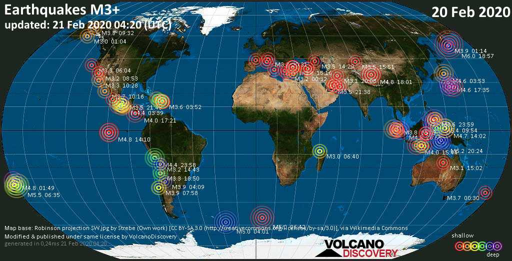 World map showing earthquakes above magnitude 3 during the past 24 hours on 21 Feb 2020