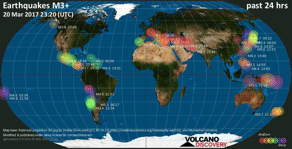 World map showing earthquakes above magnitude 3 during the past 24 hours on 20 Mar 2017