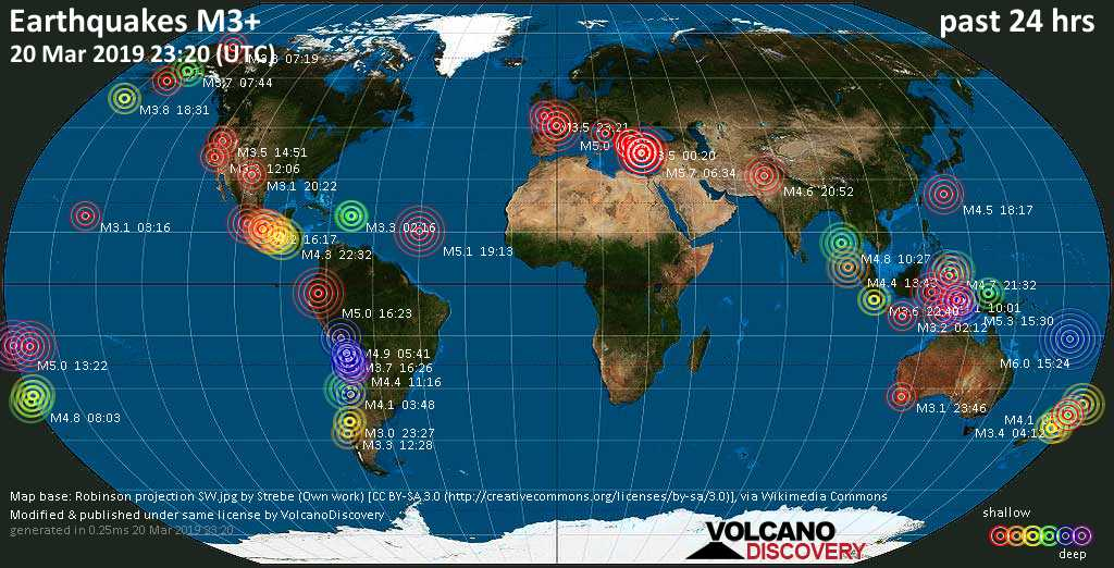 World map showing earthquakes above magnitude 3 during the past 24 hours on 20 Mar 2019