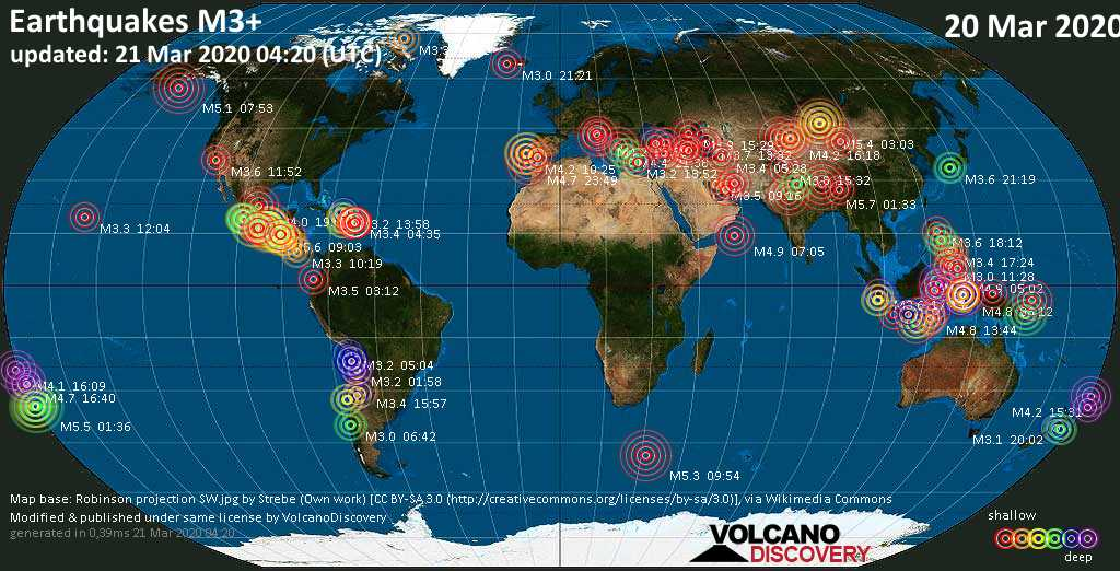 World map showing earthquakes above magnitude 3 during the past 24 hours on 21 Mar 2020