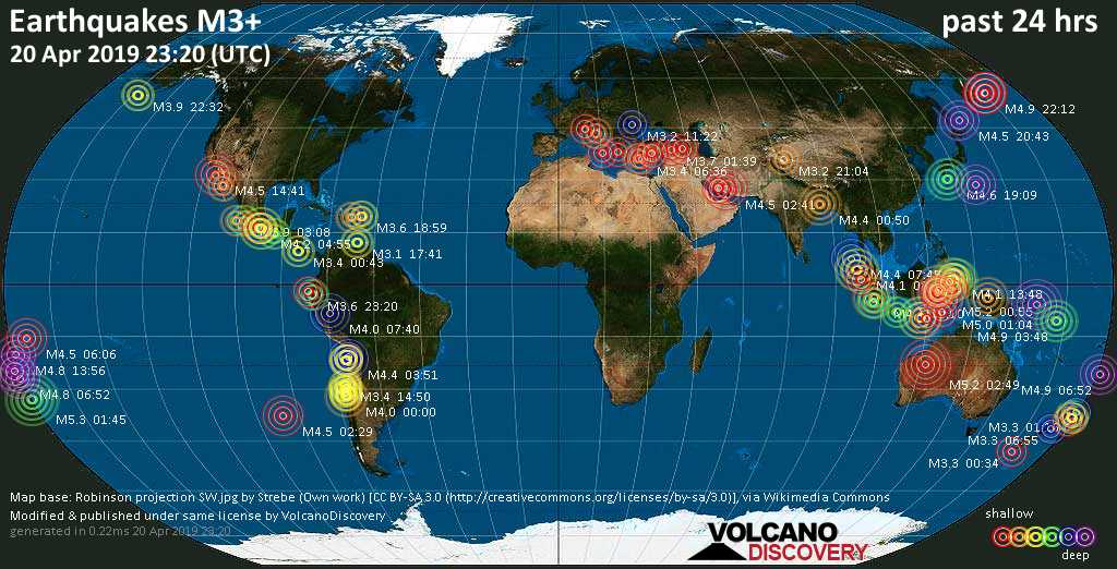 World map showing earthquakes above magnitude 3 during the past 24 hours on 20 Apr 2019