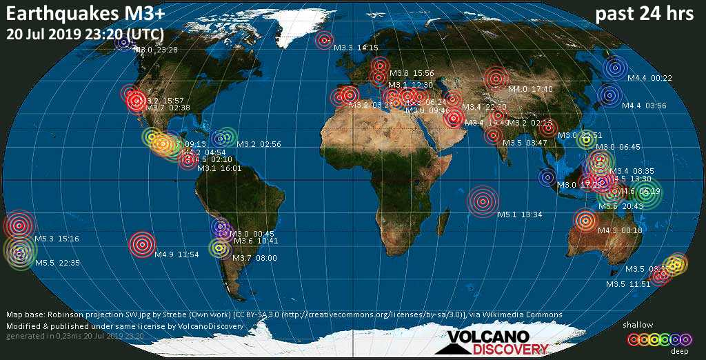World map showing earthquakes above magnitude 3 during the past 24 hours on 20 Jul 2019