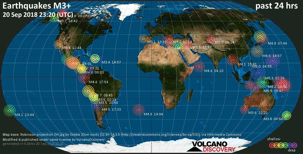 World map showing earthquakes above magnitude 3 during the past 24 hours on 20 Sep 2018