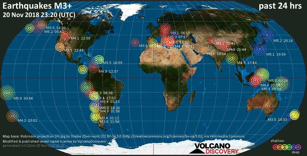 World map showing earthquakes above magnitude 3 during the past 24 hours on 20 Nov 2018