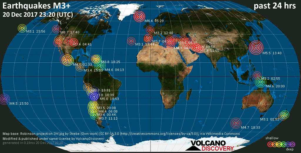 World map showing earthquakes above magnitude 3 during the past 24 hours on 20 Dec 2017