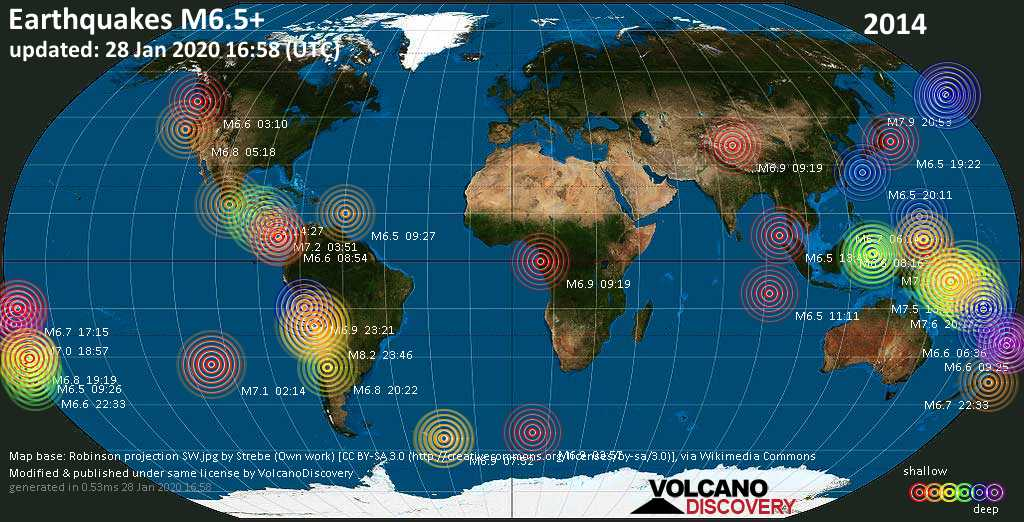 World map showing earthquakes above magnitude 6.5 during 2014