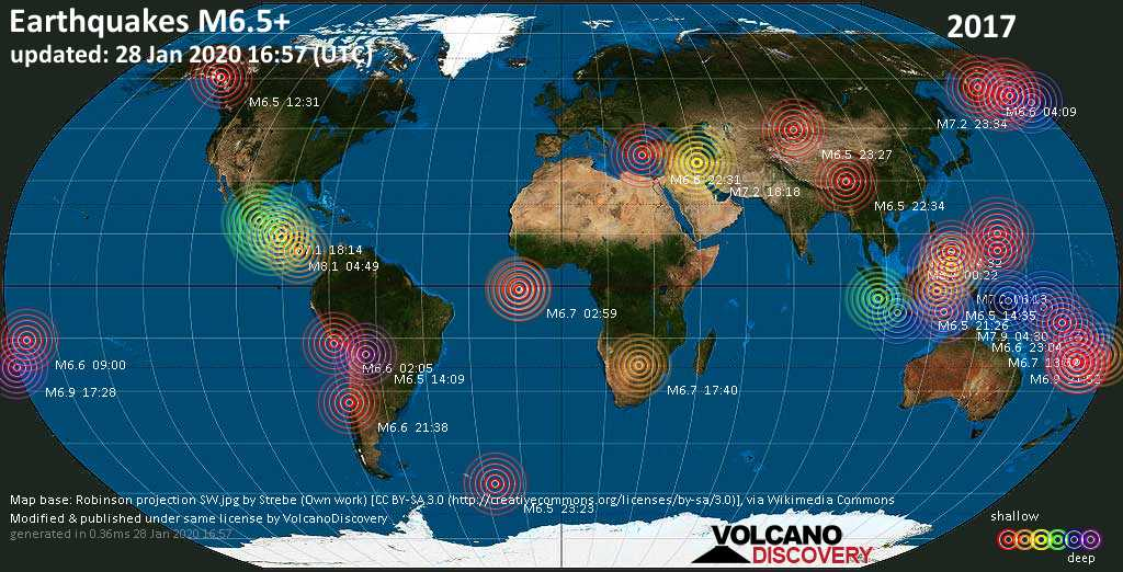 World map showing earthquakes above magnitude 6.5 during 2017
